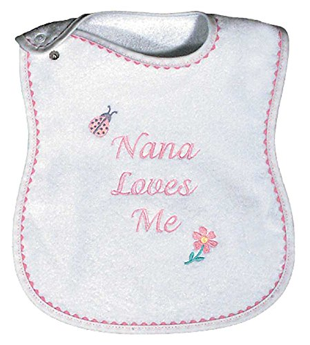 Raindrops Nana Loves Me Embroidered Bib, Pink