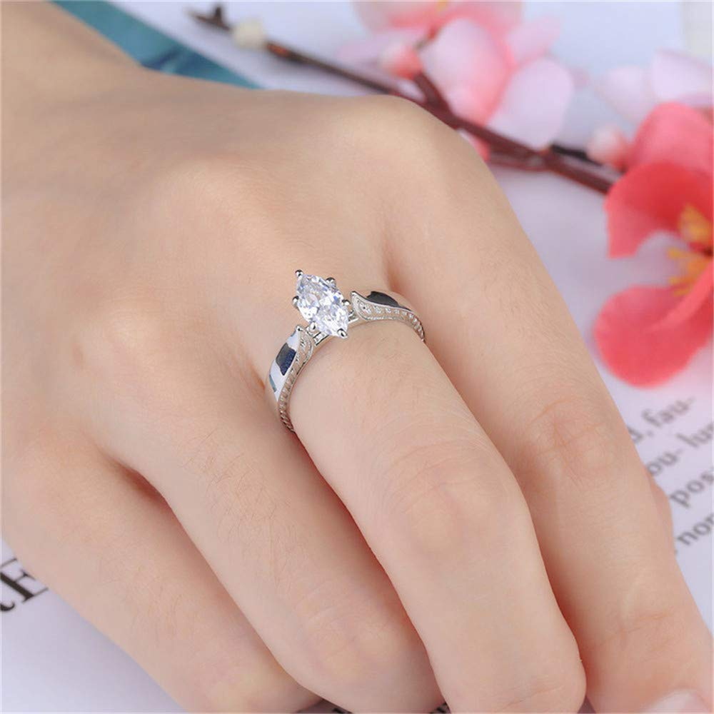 Yiwanjia Crown Big Diamond Ring Simple Ring Daily Life Jewelry Anniversary Party Ring