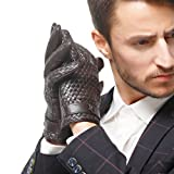 Nappaglo Men's Genuine Nappa Leather Winter Gloves Hand-knitted Touchscreen Driving Mittens (L (Palm Girth:8.5'-9'), Dark Brown (Touchscreen))