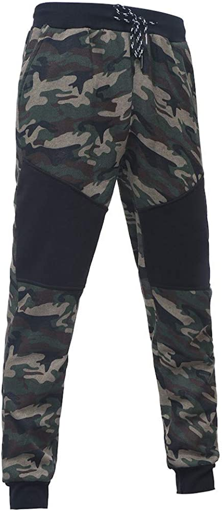Mens Spring Casual Camouflage Sweatshirt Top Pants Sets Sports Suit Tracksuit