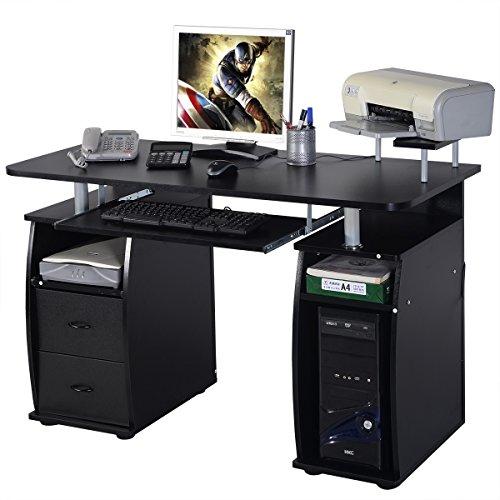 Schreibtisch Computertisch Bürotisch PC Tisch mit Druckerablage, Tastaturauszug,2 Schubladen und MonitorplattformXXL(Farbwahl) (Schwarz)