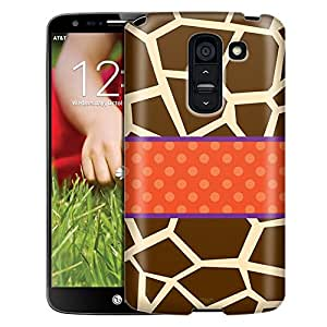 LG G2 Case, Slim Fit Snap On Cover by Trek Giraffe Print with Orange Ribon Case