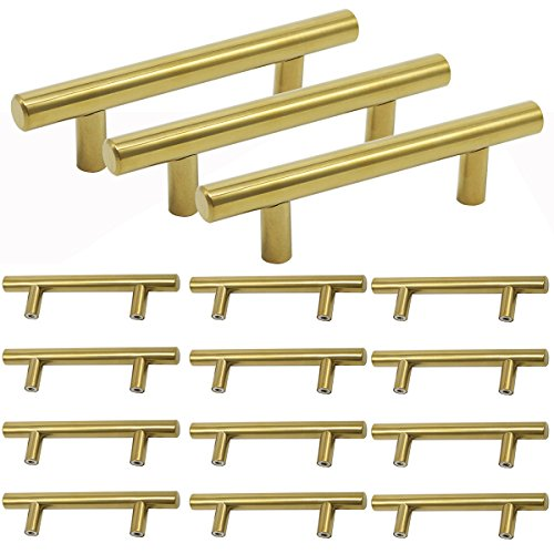 15 Pack-Probrico Brushed Brass Modern Cabinet Hardware Kitchen Cabinet T Bar Knobs Dresser Pull Bathroom Gold Drawer Handles - 3