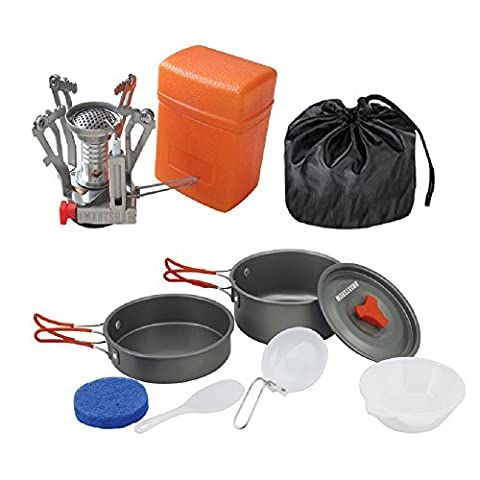Fomatrade Camping Cookware Mess Kit Backpacking Gear & Outdoor Picnic Cooking Sets Backpacking Cookware:Hiking Pot Pan + Canister Stove for Piezo Ignition Canister System Propane - Free Nylon - Ignition Stove