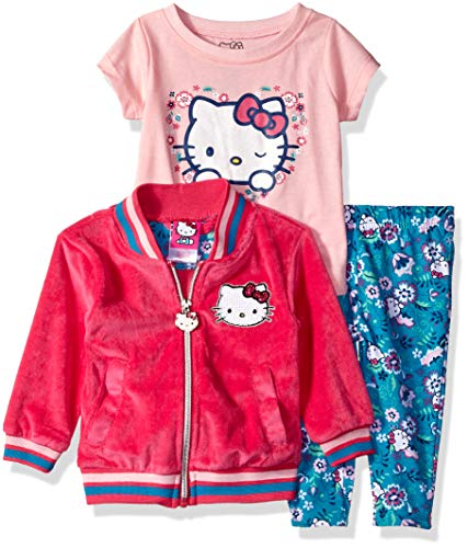 Hello Kitty Baby Girls 3 Piece Cardigan Set with Tee and Printed Leggings, Fuchsia, 12 Months ()
