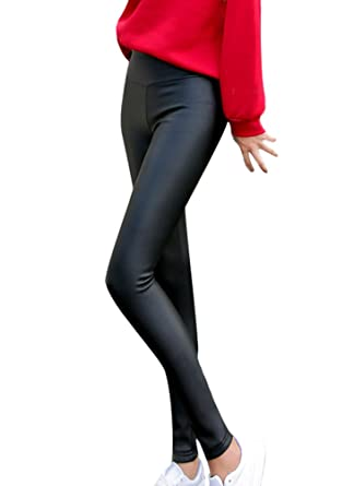 23b5063c77e16a Women's Faux Leather Leggings Fleece Lined Warm Pnats High Waist Shiny  Ladies PU Trousers Full Length