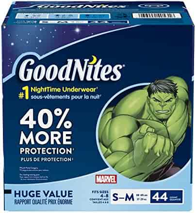 GoodNites Bedtime Bedwetting Underwear for Boys, S-M, 44-Count, Marvel Comics Design, Protective Nighttime Underwear for Boys