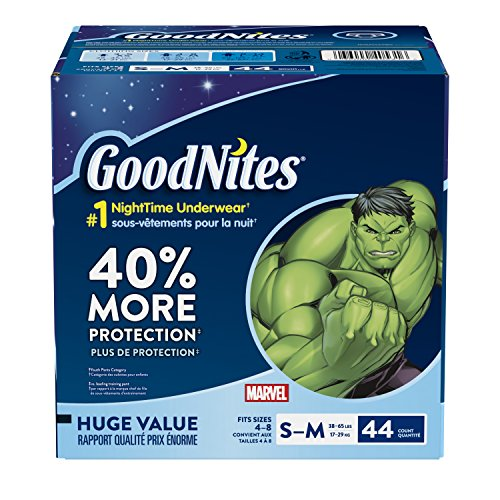 GoodNites Bedtime Bedwetting Underwear for Boys, S-M, 44-Count, Marvel Comics Design, Protective...
