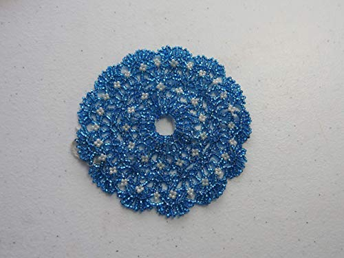 - Beaded doily bright turquoise blue