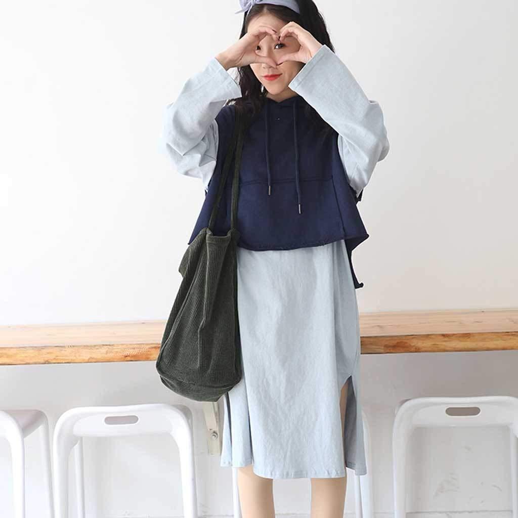 QUNANEN Ladies Corduroy Canvas Shoulder Bag Fashion Casual Canvas Bag Large Capacity Tot Messenger Bag