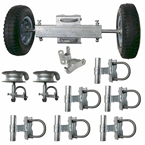 ChainLink Rolling Gate Hardware Kit Slide Chain Link Fence Gate Kit Sliding Componets for Residential Commercial Kit Guide Rollers Mounting Brackets Wheels Latch ()