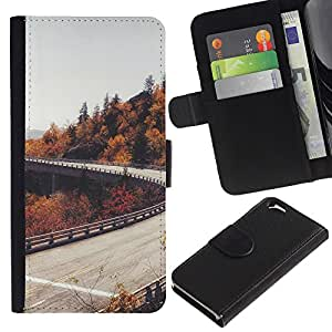KingStore / Leather Etui en cuir / Apple Iphone 6 / Camino del otoño Árboles Gris Cielo;