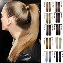 LUNIWEI Clip In Human Hair Extension Straight Pony Tail Wrap Around Ponytail
