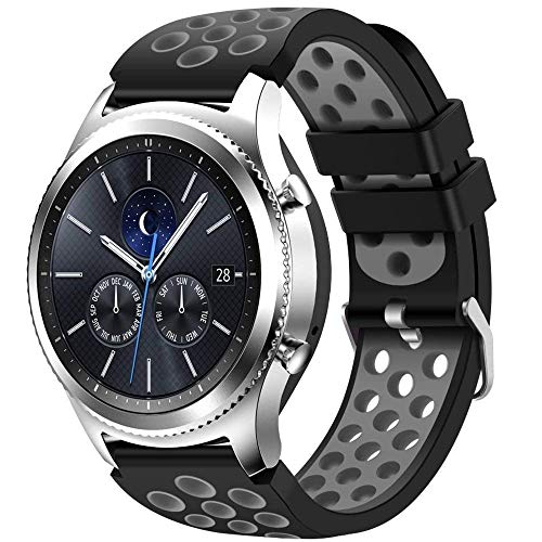 CreateGreat for Samsung Gear S3 Frontier and Classic Watch, Soft Replacement Breathable Sport Bands with Air Holes for Samsung Gear S3 Smart Watch Band(Black Grey) (Best Gear S3 Bands)