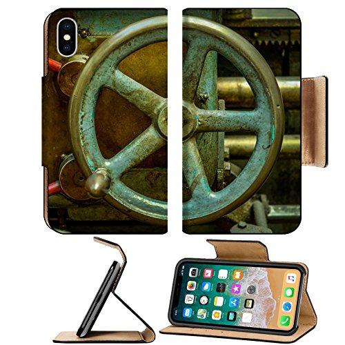 MSD Premium Apple iPhone X Flip Pu Leather Wallet Case Detail Of A Vintage Industrial Metal Working Lathe IMAGE 24540642
