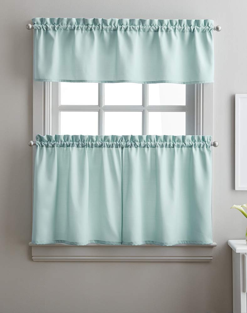 Solid Twill 3-Piece Kitchen Curtain Set, Rod Pocket, 29W x 36L Tier Pair, 58W x 12L Valance, Aqua