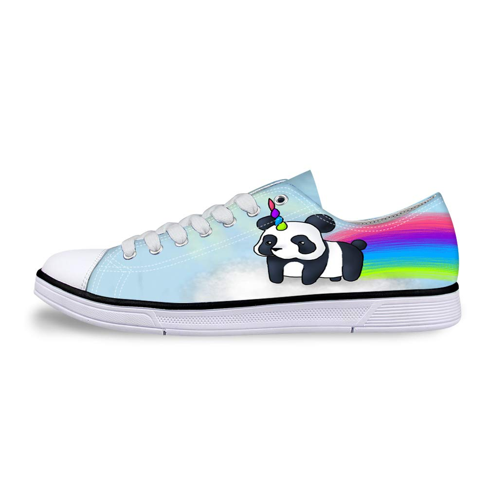 Canvas Low Top Sneaker Casual Skate Shoe Mens Womens Rainbow Unicorn Panda Bear On Cloud