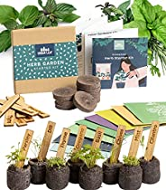 Indoor Herb Garden Starter Kit - Soil Starter Discs, Compact Herb Seed Varieties, Bamboo Labels and Detailed I