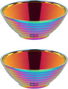 Buyer Star Ramen Noodle Soup Bowl,2 Sets Rainbow Double Layer 18/8 Stainless Steel Bowl(7.09 inch)