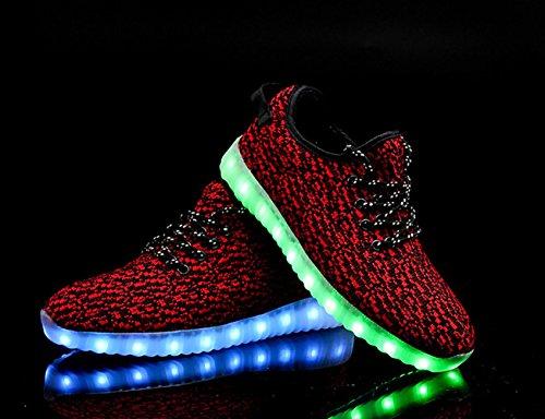 Ukris Hommes Et Femmes Chaussures Led Lumineux Clignotant Sneakers Allument Des Chaussures De Sport Rouge