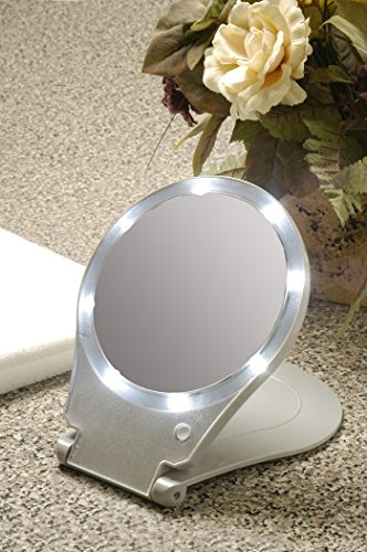 41ZDD4ajPCL Floxite LED Lighted Travel and Home 10x Magnifying Mirror