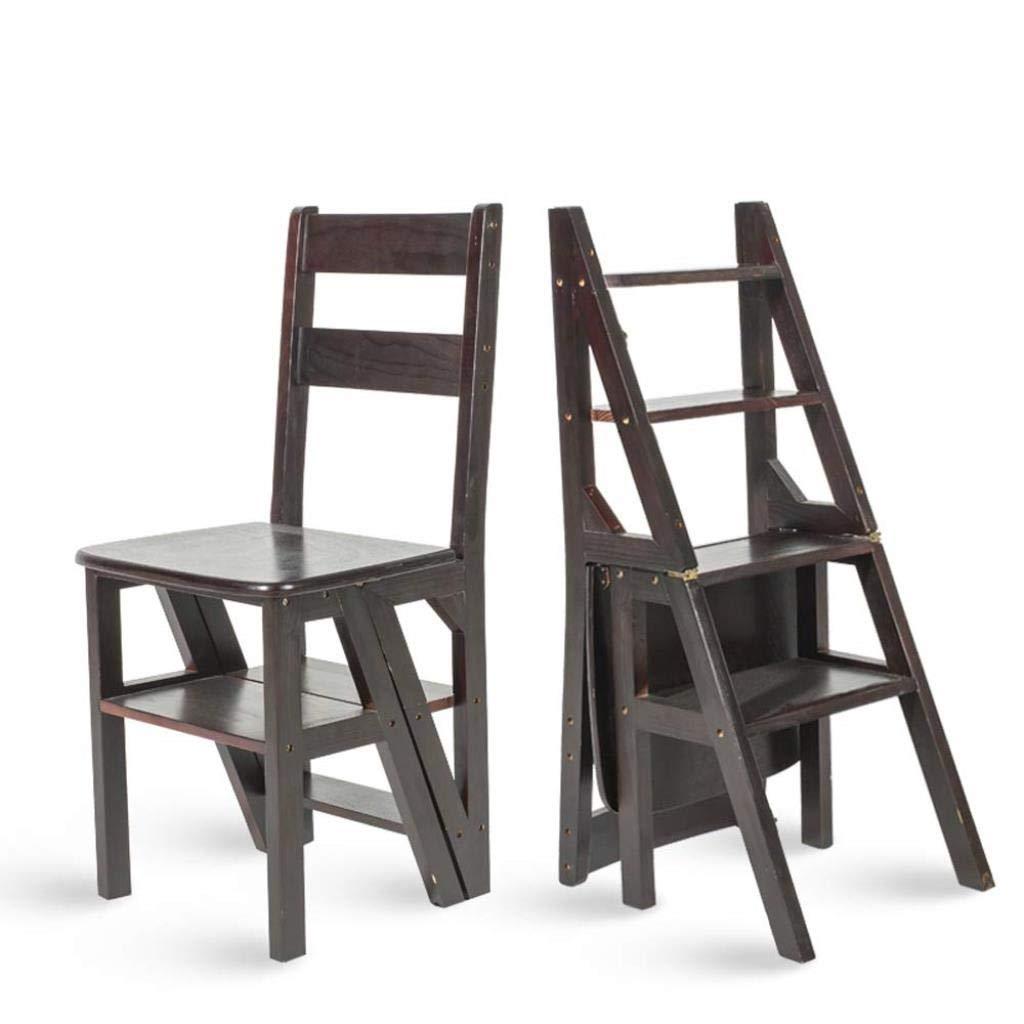 家庭用多機能はしごスツール無垢材IKEA子供折りたたみ椅子デュアルユース4段式はしご上昇はしご38×39×60 cm (Color : Black) B07SSX6FMP Black