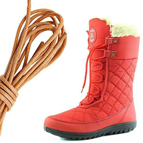 Dailyshoes Comfort Donna Punta Rotonda Stivaletto Alla Caviglia Medio Alto Alla Caviglia Eskimo Invernale, Rosso Fuoco