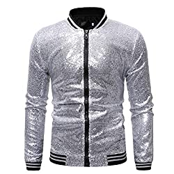 Men's Zip Up Mermaid Sequin Bomber Jacket