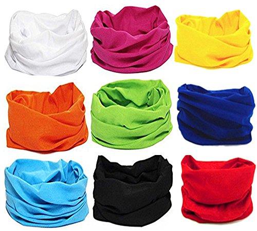 (KALILY 9PCS Headband Bandana - Versatile 12-in-1 Solid Casual Headwear –Multifunctional Seamless Neck Gaiter, Headwrap, Balaclava, Helmet Liner, Face Mask for Camping, Running, Cycling, Fishing etc)