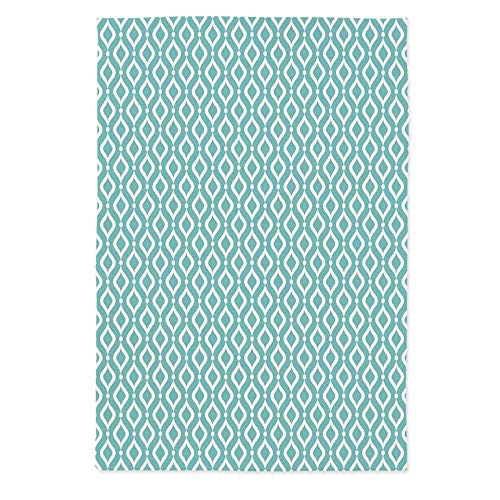 Modern Decor Fashionable Tablecloth,Vertical Oval Shapes Pattern with Dots Waves Artistic Curves Abstract Design for Secretaire Square Table Office Table,60''W X 84''L