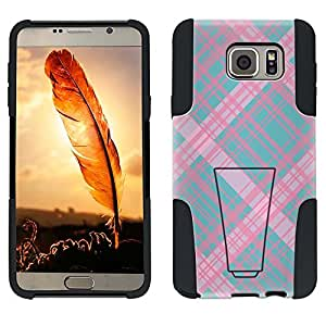 Samsung Galaxy Note 5 Hybrid Case Plaid Lines Pink on Teal 2 Piece Style Silicone Case Cover with Stand for Samsung Galaxy Note 5
