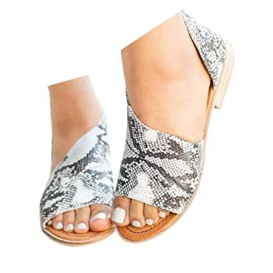 46a87f0e2e2f8 Veodhekai Womens Flats Shoes Side Open Cover Heel Retro Peep Toe Sandals  Roman Sandals Flats Shoes Wedding