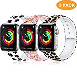 Laffav Compatible with Apple Watch Band 40mm 38mm 44mm 42mm for Women Men, Soft Silicone Sport Pattern Band Replacement Strap for iWatch Apple Watch Series 5 4 3 2 1