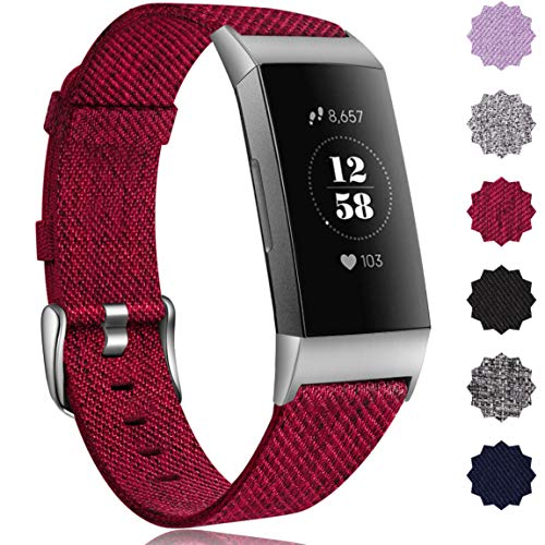 Maledan Compatible with Fitbit Charge 3 Bands for Women, Small, Wine Red