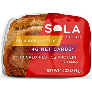 Sola Deliciously Seeded Bread – Low Carb, Low Calorie, Reduced Sugar, Plant Based, 5g of Protein & 4g of Fiber Per Slice…