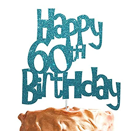 Happy 60th Birthday Cake Topper Glitter Card Light Blue Amazonco