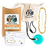 Baltic Amber Teething Necklace Gift Set + FREE Silicone Teething Pendant ($15 Value) Handcrafted, 100% Lab-Tested Authentic Amber - All Natural, Teething & Soothing Pain Relief (Unisex - Honey Raw Unpolished - 12.5 Inches)