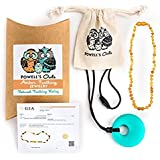 "Baltic Amber Teething Necklace Gift Set + FREE Silicone Teething Pendant ($15 Value) Handcrafted, 100% USA Lab-Tested Authentic Amber - Teething Pain Relief (Unisex - Raw Honey Unpolished - 12.5"")"
