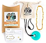 Baltic Amber Teething Necklace Gift Set + FREE Silicone Teething Pendant ($15 Value) Handcrafted, 100% USA Lab-Tested Authentic Amber - Teething Pain Relief (Unisex - Raw Honey Unpolished - 12.5')