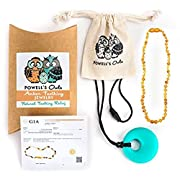 Baltic Amber Teething Necklace Gift Set + FREE Silicone Teething Pendant ($15 Value) Handcrafted, 100% USA Lab-Tested Authentic Amber - Teething Pain Relief (Unisex - Raw Honey Unpolished - 12.5 )