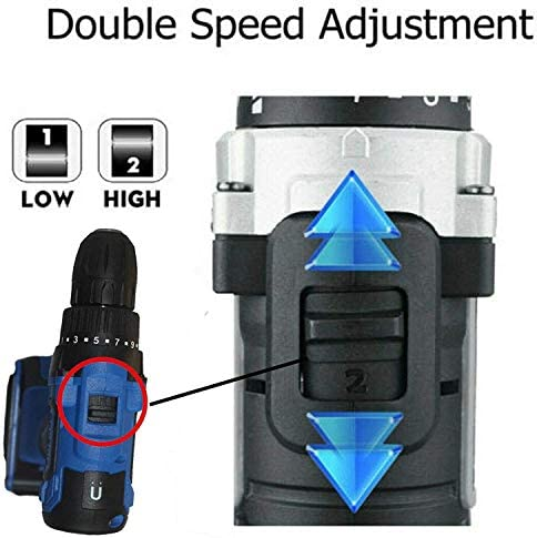 Qfeng 21V Cordless Drill Driver 2 Speed, 2X 1500mAh Li-ion Battery Quick Charge, with LED Work Light, Carry Case (Size : 2 Battery)
