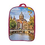 iPrint Children's Backpacks Schoolbag Strong Durability,Cityscape,Canal and Old Church in Netherlands Traditional Romantic Scene of The Europe Home,Multi,Graph Customization Design.