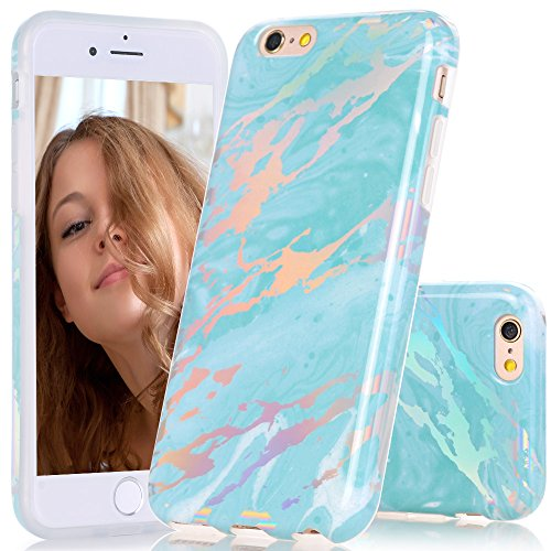 BAISRKE Holographic Marble for iPhone 6 6s, Bling Bling Shiny Laser Gorgeous Style Design Flexible Glossy Soft Rubber TPU Case for iPhone 6 6s 4.7 [Green]