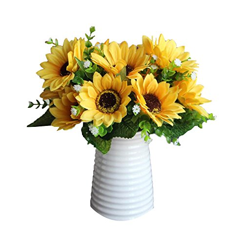 YEDREAM 3pcs Artificial Sunflowers Gypsophila Paniculata Warm Floral Bouquet Plants for Wedding Party Office Home Decoration (Yellow)