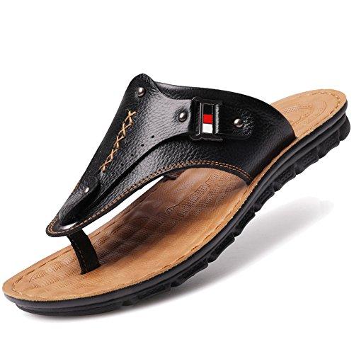 De Cuero Gran Piscina Adultos De Genuino Aire MERRYHE Playa para Slippers Al Zapatos Slip De On Black3 Sandalias De Libre para Caminar Tamaño para Sandalias Hombres qEvOxFEw