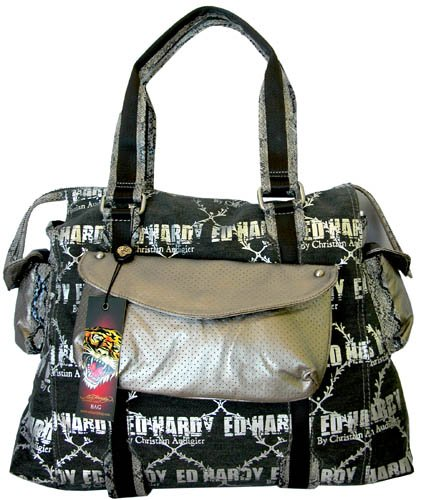 Ed Hardy Galactic Rock Mercury Tote,Black,one size, Bags Central