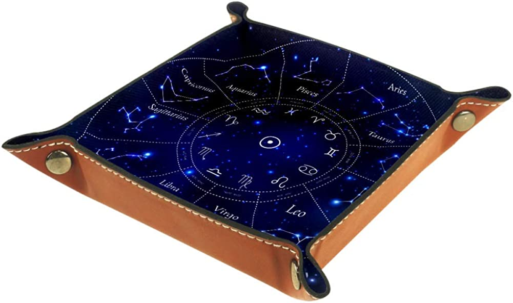 Amili - Bandeja de piel para guardar llaves, teléfono, monedas, relojes, etc., diseño de café zodiaco constelaciones