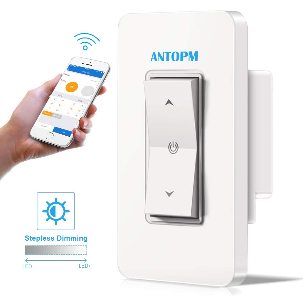 Antopm Smart Dimmer Switch - APP Wifi Remote Control Light Anywhere - Schedule Timer Scene Mode - No Hub Required, Easy to Install (Single-Pole Only), Compatible with Alexa and Google Assistant