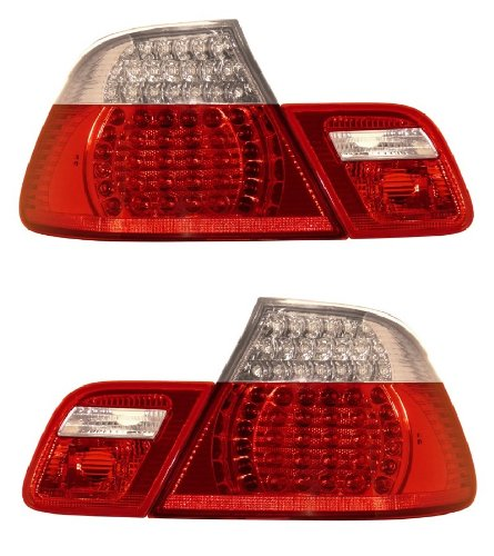 BMW 3 SERIES E46 99-08 CONVERTIBLE LED TAIL LIGHT SET RED/CLEAR 4 PCS NEW