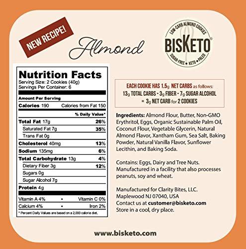 Low Carb Cookies BisKeto - Keto Snacks, Low Net Carbs, No Sugar, Gluten & Grain Free - Box with 6 Packs,12 Cookies (Variety Joy) - Ketogenic Diet Friendly & Healthy Snack Food 5